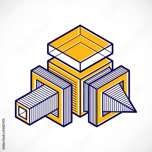 3D design, abstract vector dimensional cube shape. - 216127475