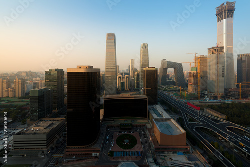 Foto Spatwand Peking Beijing cityscape at dusk. Landscape of Beijing business building in China. Modern high building in business district area at morning..