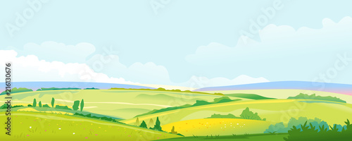 Fields and Meadows Panorama Landscape Background - 216130676