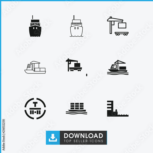 Fototapeta Collection of 9 tanker filled and outline icons
