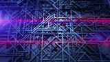 Abstract motion red laser. Blue geometric grid surface. - 216145250