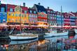Leinwandbild Motiv Nyhavn illuminated at night, Copenhagen