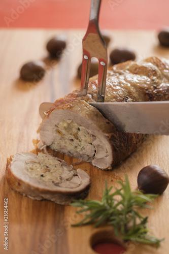 Foto Murales stuffed turkey breast on cutting board