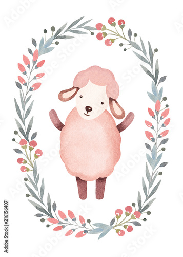 Watercolor illustration of cute sheep. Perfect for greeting card - 216156407
