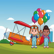 Boy with vintage airplane and girl with balloons at park vector illustration graphic design