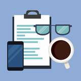 Clipboard with glasses and smartphone vector illustration graphic design