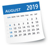 August 2019 Calendar Leaf - Vector Illustration - 216166635
