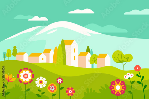 Foto Spatwand Groene koraal Vector illustration in simple minimal geometric flat style - village landscape with buildings, hills, flowers and trees