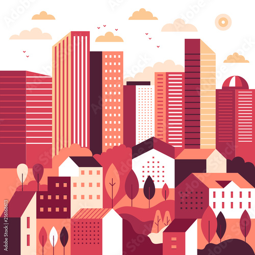Foto Spatwand Hoogte schaal Vector illustration in simple minimal geometric flat style - city landscape with buildings and trees