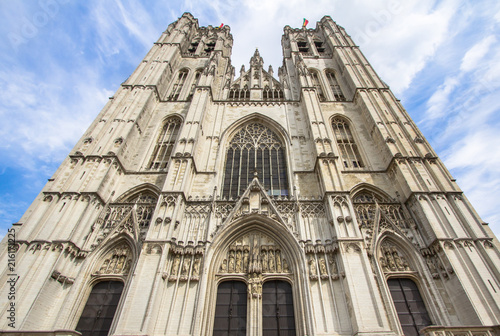 Foto Spatwand Brussel Cathedral St. Michael and St. Gudula in Brussel, Belgium