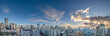 Panorama of Vancouver's Yaletown district with blue sky and clouds