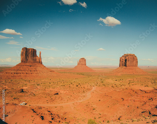 Beautiful view of blue sky and orange sand rocks, Monument Valley, Utah, USA