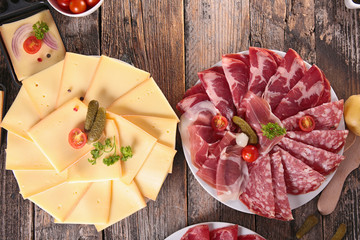 raclette cheese and salami © M.studio