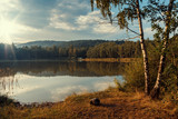 Beautiful Evening Landscape with Lake. Pond in Czech Republic, Europe. Quiet Place in Nature. - 216174482
