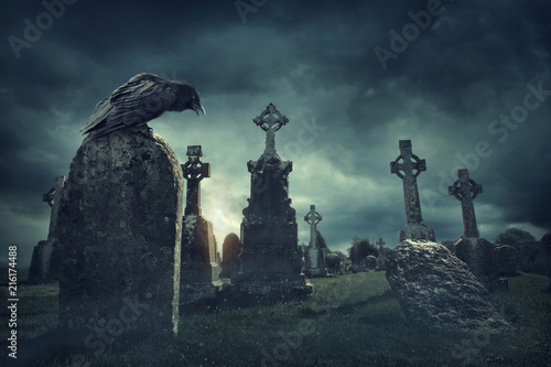 Leinwanddruck Bild Spooky old graveyard and a bird