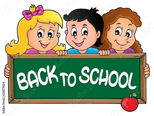 Canvas Voor kinderen Children holding schoolboard theme 2