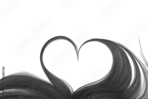 Black Hair In Shape Of Heart Isolated On A White Background