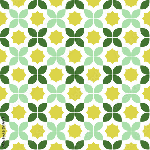 Seamless pattern in green and yellow - 216196648