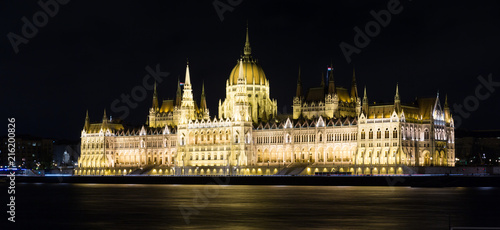 Foto Spatwand Boedapest Photo of night light of Parlament in Budapest in Hungary