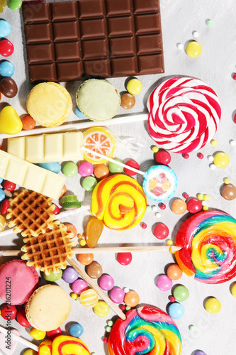 Foto Murales candies with jelly and sugar. colorful array of different childs sweets and treats