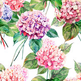 Beautiful bright elegant autumn wonderful colorful tender gentle pink herbal floral hydrangea flowers with green leaves pattern watercolor hand illustration. Perfect for greetings card, textile