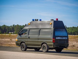 MONTE REAL, PORTUGAL-September 10: Military ambulance standing a