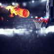 Leinwanddruck Bild - Fiery ball goes fast to the basket