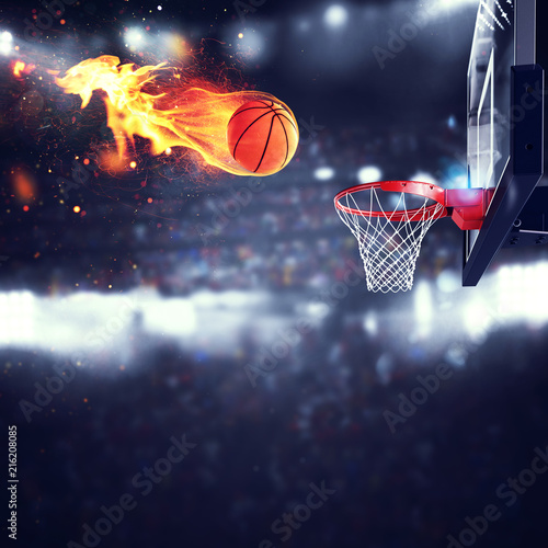 Fiery ball goes fast to the basket