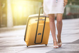 Girl traveler and suitcase - 216208444