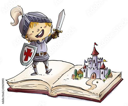 Leinwanddruck Bild niño caballero con cuento de castillo
