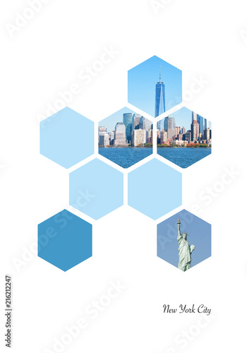 Foto Murales Hexagon shapes with New York City images. Geometric background