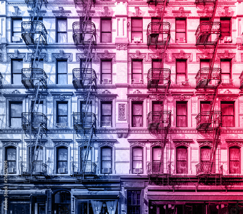 Old apartment building in the Lower East Side of Manhattan, New York City with pink and blue color cast effect - 216217804
