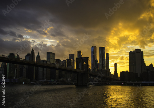 Fototapeta New York City Manhattan Downtown Skyline i Brooklyn Bridge