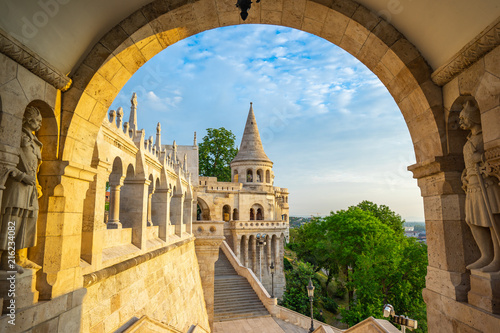 Foto Spatwand Boedapest Fisherman's Bastion with sunrise in Budapest, Hungary