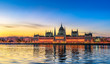 Leinwanddruck Bild - Hungarian Parliament Building by Morning Light
