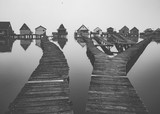 Wooden houses on the lake