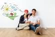 Leinwandbild Motiv Portrait Of Happy Young Couple Sitting