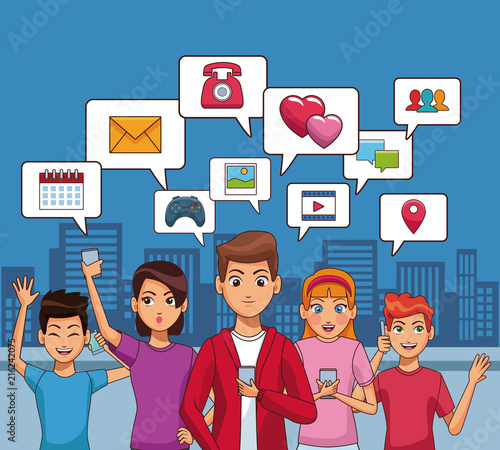 Young People Using Smartphone And Social Network Symbols Cartoons