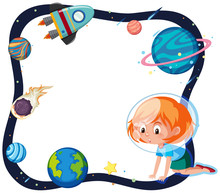 A Girl In Space Border Sticker