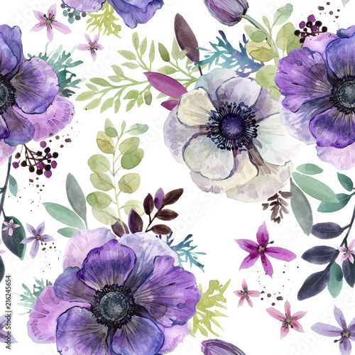 watercolor flowers seamless pattern  - 216245654