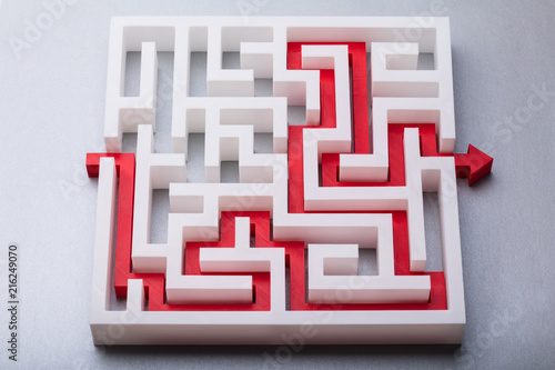 Foto Murales Red Arrow Showing Path Through Maze