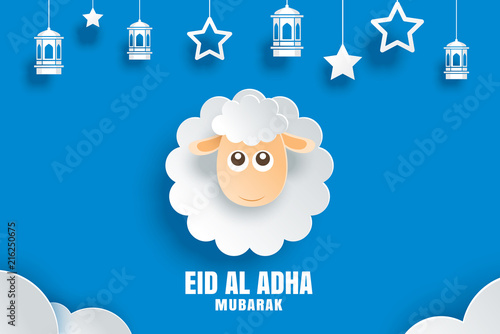 Eid Al Adha Mubarak Celebration Card With Sheep In Paper Art Blue Background Use For