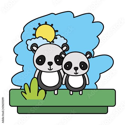 kolor para panda słodkie dzikie zwierzę