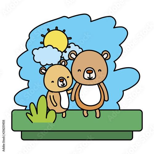 kolor para niedźwiedź ładny dzikie zwierzę