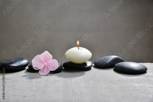 Plexiglas Spa Many Pink hydrangea petals with white candle on gray background