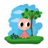 owl cute wild animal in the forest - 216253480