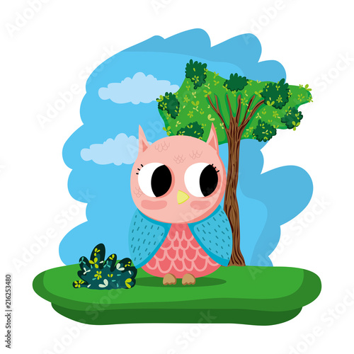 Fotobehang Uilen cartoon owl cute wild animal in the forest