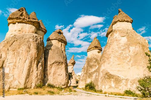 Fotobehang Beige Cappadocia fairytale landscape with hills and cave houses,Kapadokya Turkey