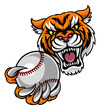 Tiger Holding Baseball Ball Mascot