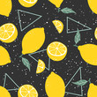 Yellow lemon seamless pattern with triangles on black background. Vector illustration. - 216259625